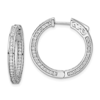 Sterling Silver CZ 200 Stones In and Out Round Hoop Earrings