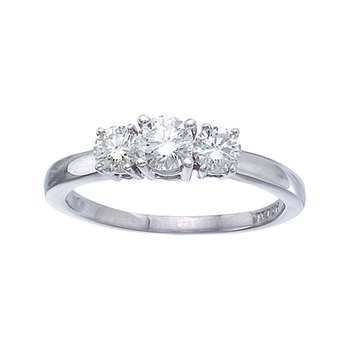14k White Gold 0.75 Ct Three Stone Diamond Ring