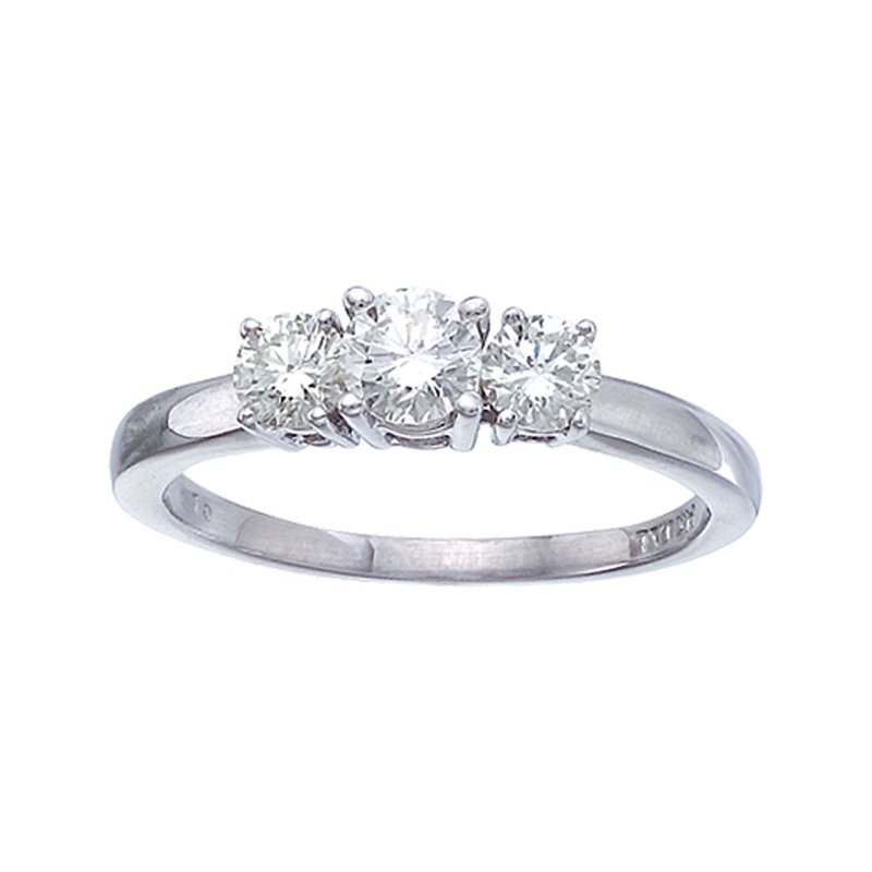 Color Merchants 14k White Gold 0.75 Ct Three Stone Diamond Ring
