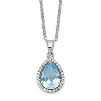Sterling Silver Rhodium Polished Created Aquamarine & CZ Necklace