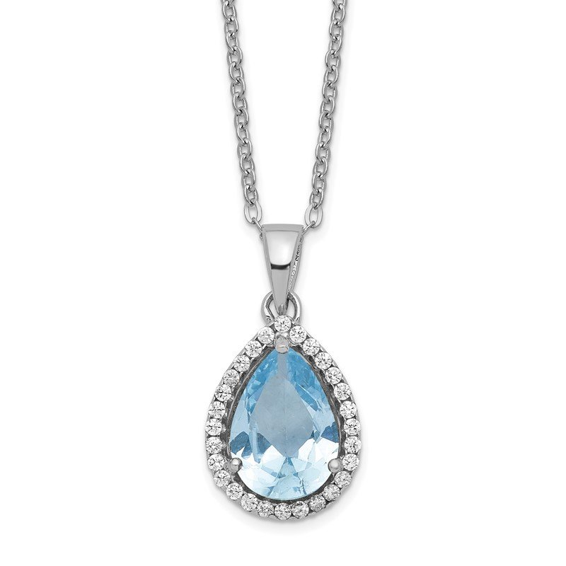 J.F. Kruse Signature Collection Sterling Silver Rhodium Polished Created Aquamarine & CZ Necklace
