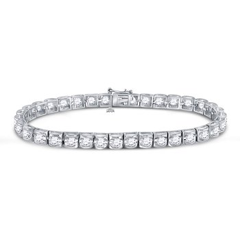14kt White Gold Mens Round Diamond Solitaire Tennis Bracelet 5.00 Cttw