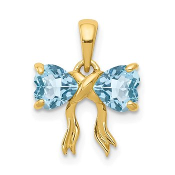 14k Gold Polished Light Swiss Blue Topaz Bow Pendant