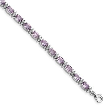 Sterling Silver Rhodium-plated Pink Quartz & White Topaz Bracelet