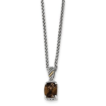 Sterling Silver w/14k Diamond and Smoky Quartz Necklace