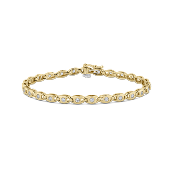 14K Yellow Gold 1.00 ct Round White Diamond Tennis Bracelet