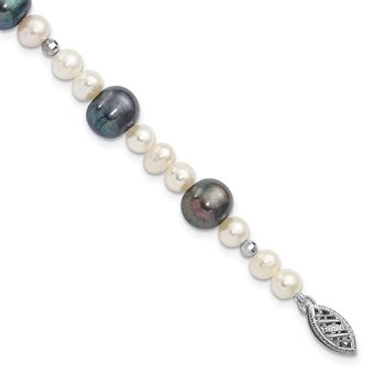 14K WG White & Peacock Semi-round Freshwater Cultured Mirror Bead Bracelet