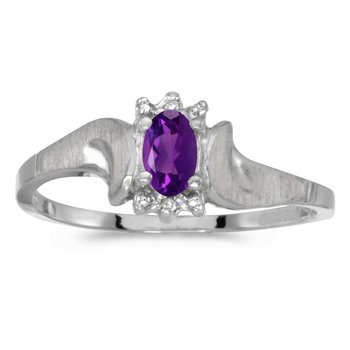 10k White Gold Oval Amethyst And Diamond Satin Finish Ring
