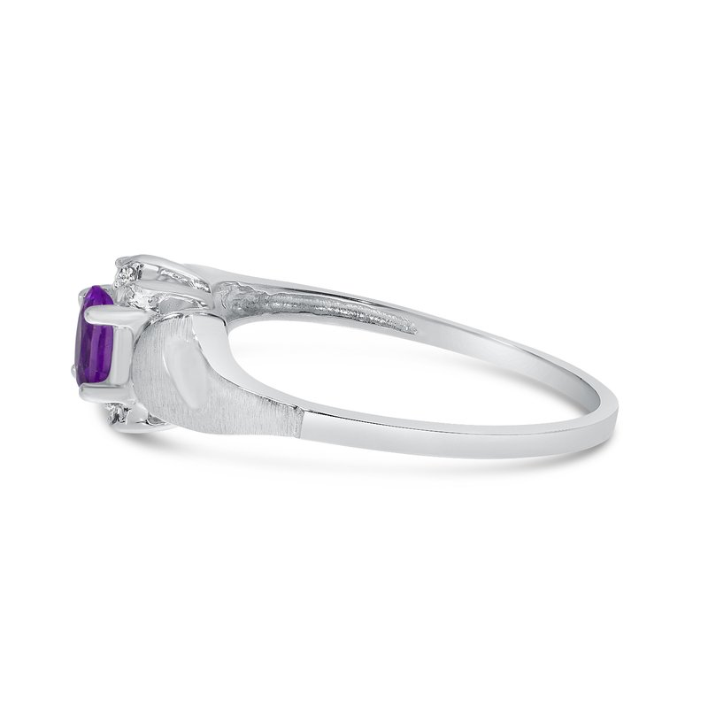 Color Merchants 10k White Gold Oval Amethyst And Diamond Satin Finish Ring