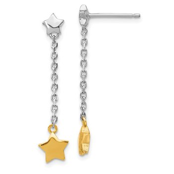 Sterling Silver Rhodium-plated & Gold-plated Star Dangle Post Earrings