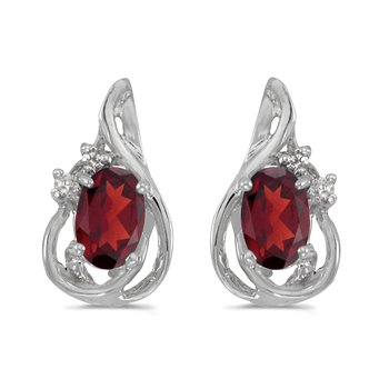 10k White Gold Oval Garnet And Diamond Teardrop Earrings