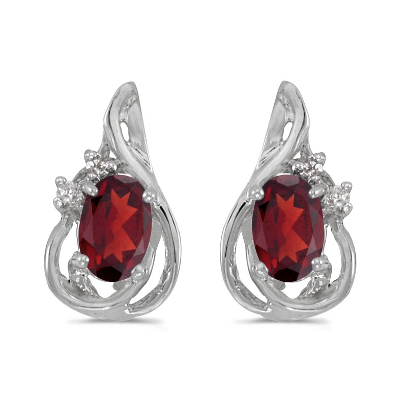 10k White Gold Oval Garnet And Diamond Teardrop Earrings
