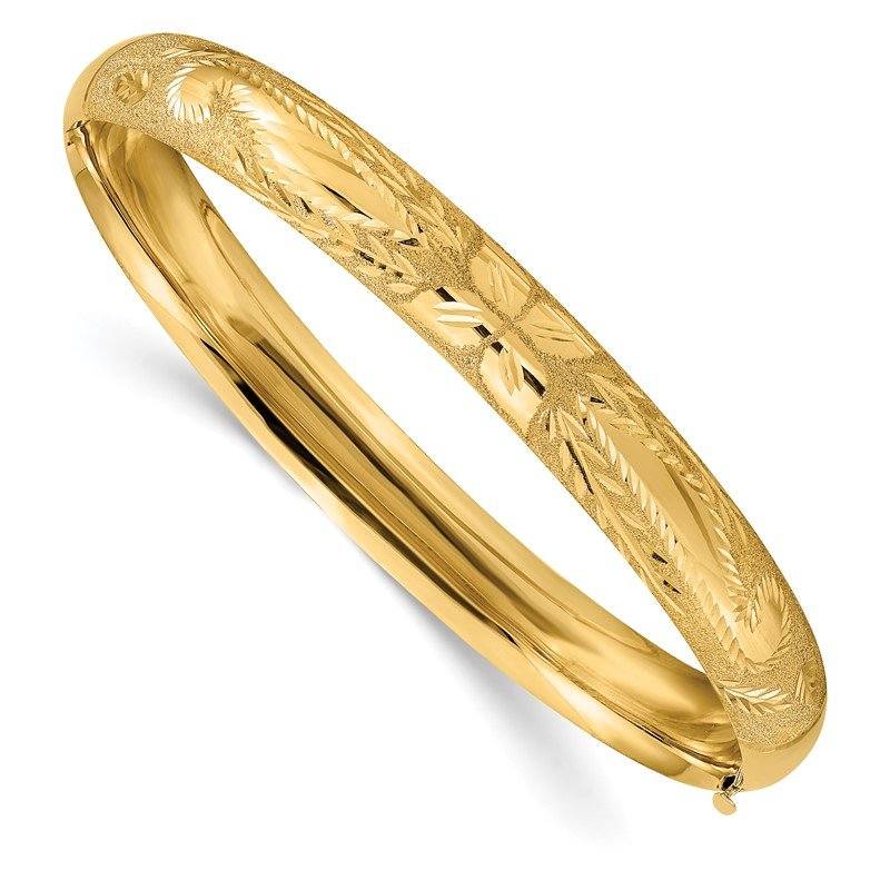 Quality Gold 14k 5/16 Laser Cut Hinged Bangle Bracelet