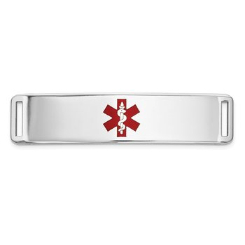 14K WG Epoxy Enameled Medical ID Ctr Plate # 820