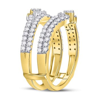 14kt Yellow Gold Womens Round Diamond Ring Guard Enhancer Wedding Band 7/8 Cttw
