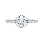 Carizza 14K White Gold Round Diamond Floral Engagement Ring with Euro Shank (Semi-Mount)