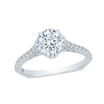14K White Gold Round Diamond Floral Engagement Ring with Euro Shank (Semi-Mount)