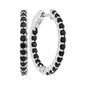 14kt White Gold Womens Round Black Sapphire Inside Outside In Out Hoop Earrings 2-1/2 Cttw