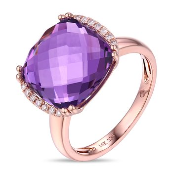 Cushion Amethyst Ring with Diamonds