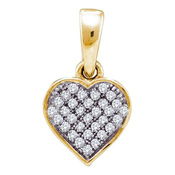 Yellow-tone Sterling Silver Womens Round Diamond Small Heart Cluster Pendant 1/10 Cttw