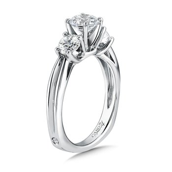 Round Three Stone Diamond Engagement Ring in 14K White Gold with Platinum Head (3/4ct. tw.)