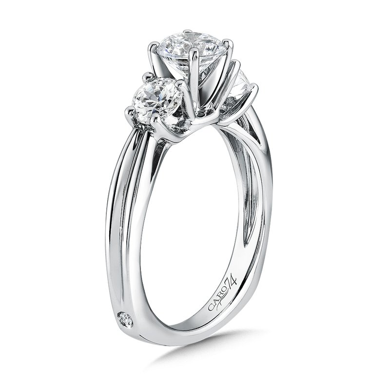 Caro74 Round Three Stone Diamond Engagement Ring in 14K White Gold with Platinum Head (3/4ct. tw.)