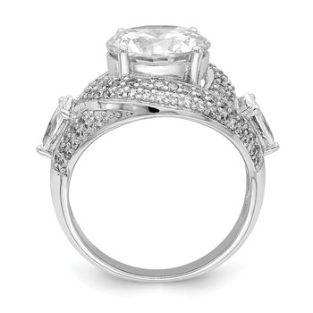 Sterling Silver Rhod-plated CZ Ring