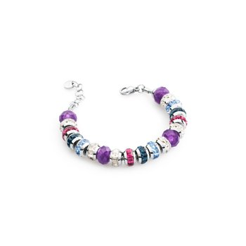 316L stainless steel, purple jade, white, blue montana, light sapphire and fuchsia Swarovski® Elements crystals.