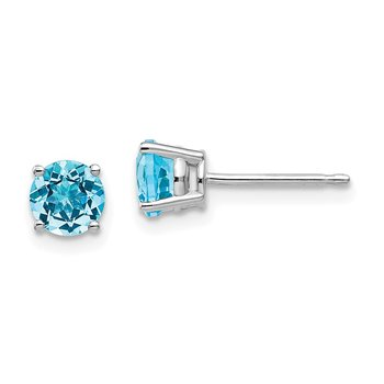 14k White Gold 5mm Blue Topaz Earrings