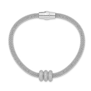 Sterling Silver Polished Rhodium-plated CZ Italian Magnetic Mesh Bracelet
