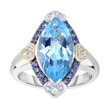 Silver & 18K Iolite Gem Candy Ring