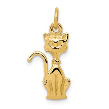 14k Satin Tom Cat Charm
