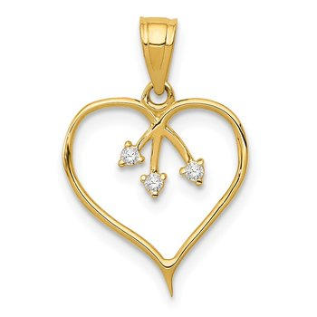 14k 3-CZ Cut-out Heart Pendant
