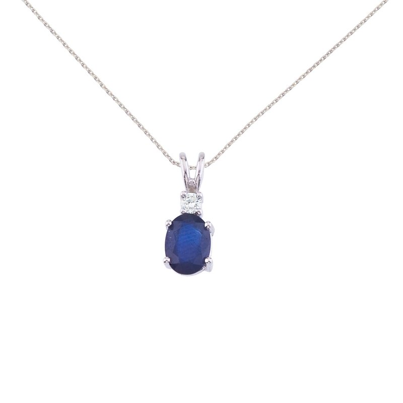 Color Merchants 14K White Gold Oval Sapphire & Diamond Pendant