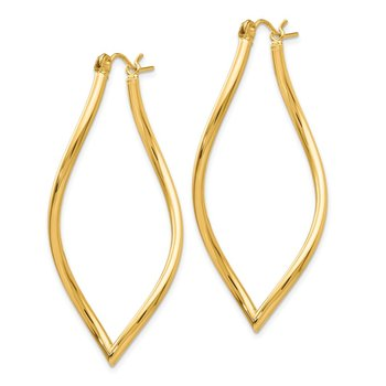 14k Fancy Tube Hoop Earrings
