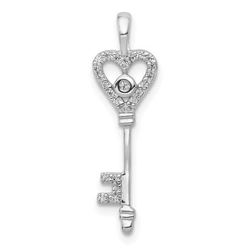14k White Gold 1/10ct. Diamond Heart Key Pendant