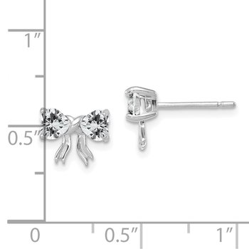 14k White Gold Polished White Topaz Bow Post Earrings