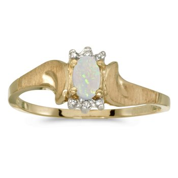 14k Yellow Gold Oval Opal And Diamond Satin Finish Ring
