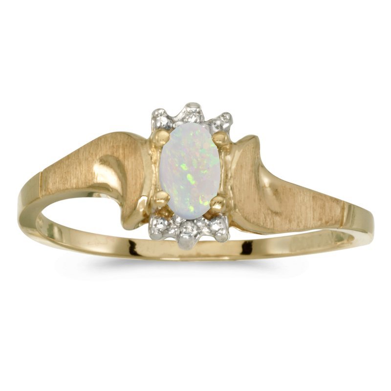 Color Merchants 14k Yellow Gold Oval Opal And Diamond Satin Finish Ring