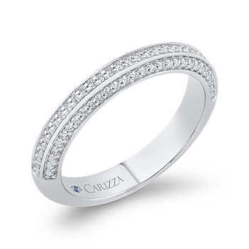 18K White Gold Three Row Diamond Wedding Band