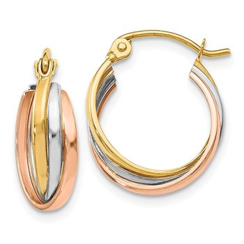 Leslie's 14K Tri-color Polished Hinged Hoop Earrings