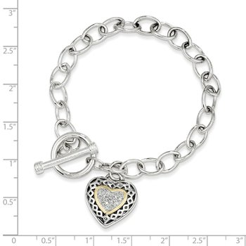 Sterling Silver w/14k .10ct. Diamond 7.25in Bracelet