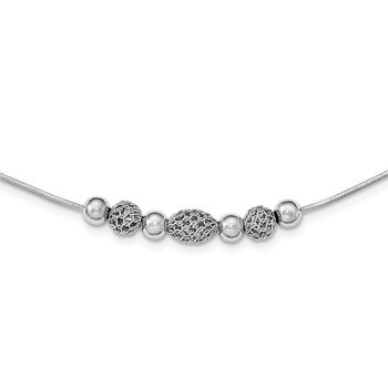 Sterling Silver Rhodium-plated Polished Filigree Bead Necklace