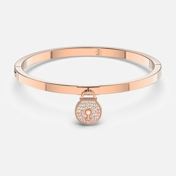 Togetherness Lock Bangle, Pink, Rose-gold tone plated