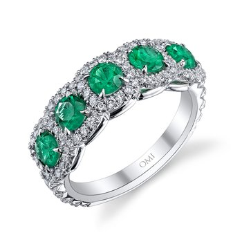 Emerald & Diamond 5-Stone Band