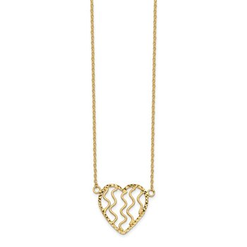 14k Polished Satin and D/C Heart 18in Necklace
