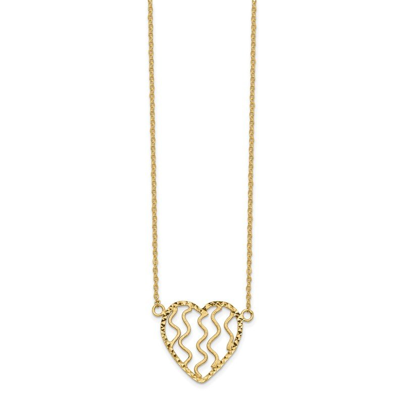 Quality Gold 14k Polished Satin and D/C Heart 18in Necklace