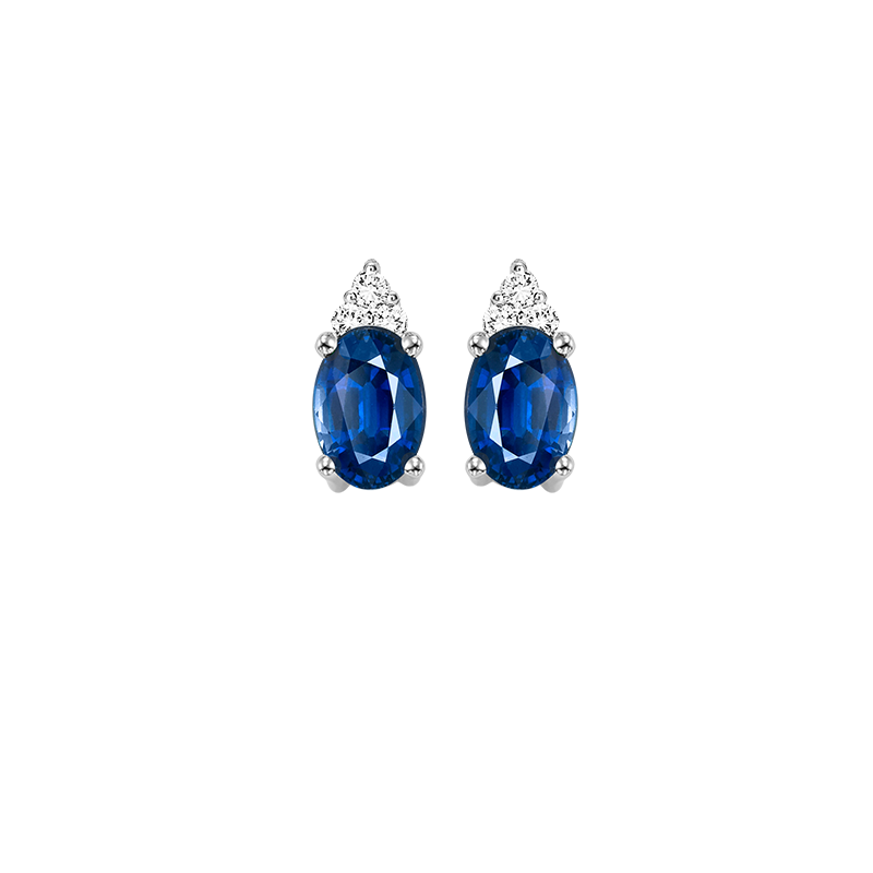10K White Gold Color Ensembles Prong Sapphire Earrings 1/20CT