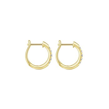14K Yellow Gold Classic Round 15mm Diamond Huggie Earrings