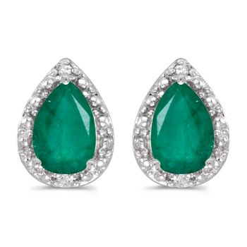 14k White Gold Pear Emerald And Diamond Earrings